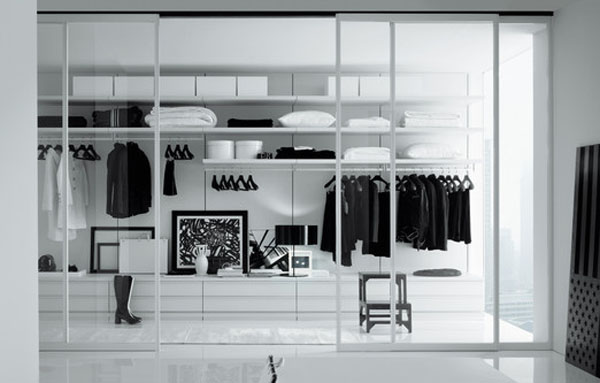 Walk in Closet Sliding Glass Door Black and White Paintings